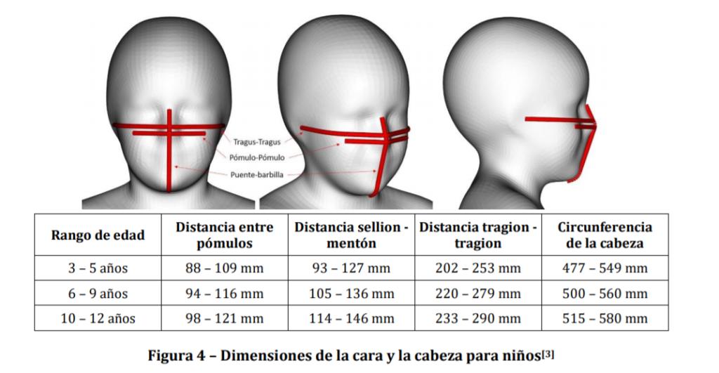 Dimensiones de la cara y la cabeza para niños