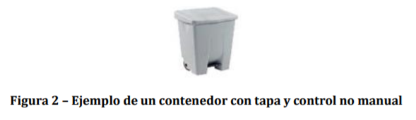 Ejemplo de un contenedor con tapa y control no manual